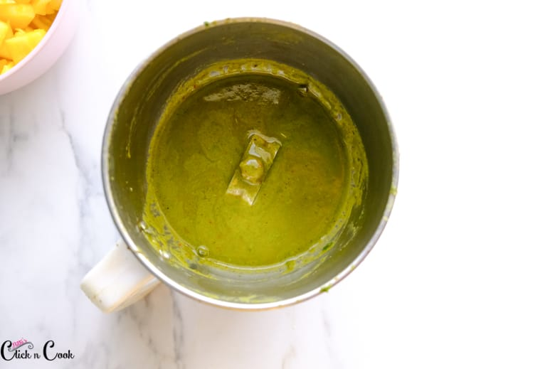 cilantro lime sauce in the blender jar