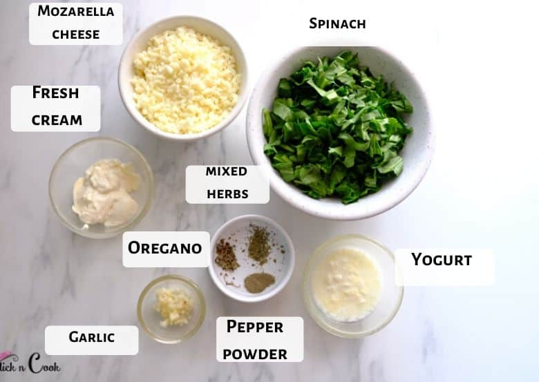 spinach, mozzarella cheese and spices are taken in glass bowls