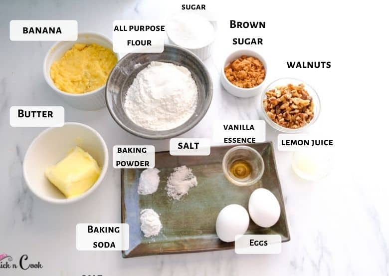 Butter, mashed banana, all-purpose flour, walnuts are taken in a glass bowl.