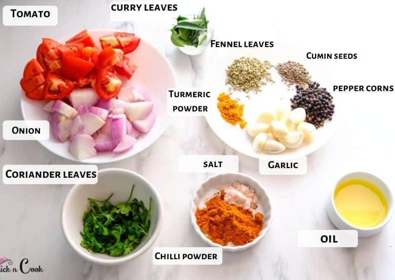 Chopped tomato, onion, garlic, and peppercorns, cumin, fennels seeds are taken in a white bowl.