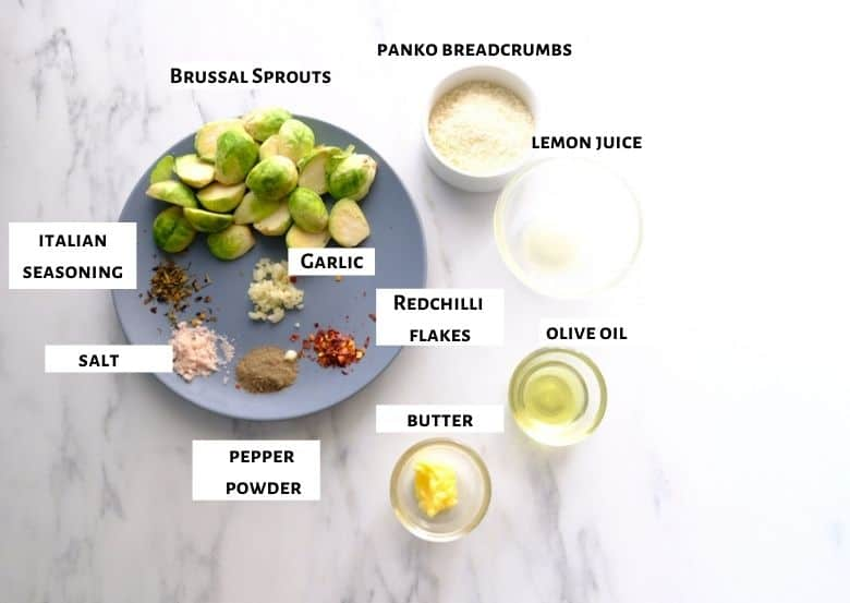 Ingredients for roasted Brussel are taken.