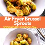 Airfryer brussel sprouts served in grey bowl