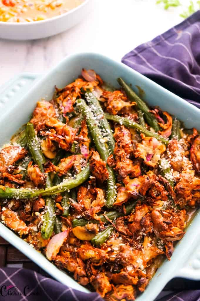 greenbean casserole recipe served in blue baking tray