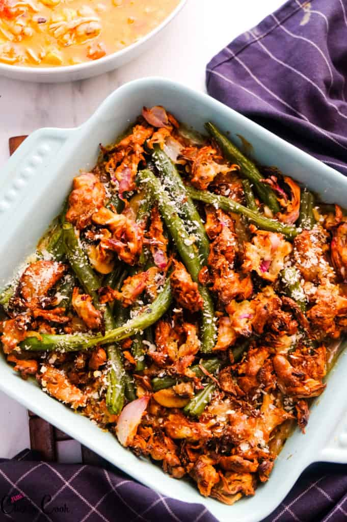 Greenbean casserole recipe  is in blue baking tray.