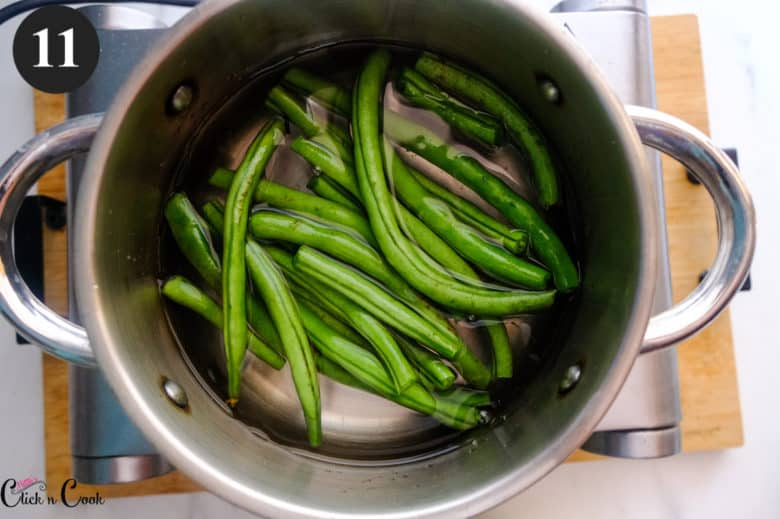 green beans is being blanched.