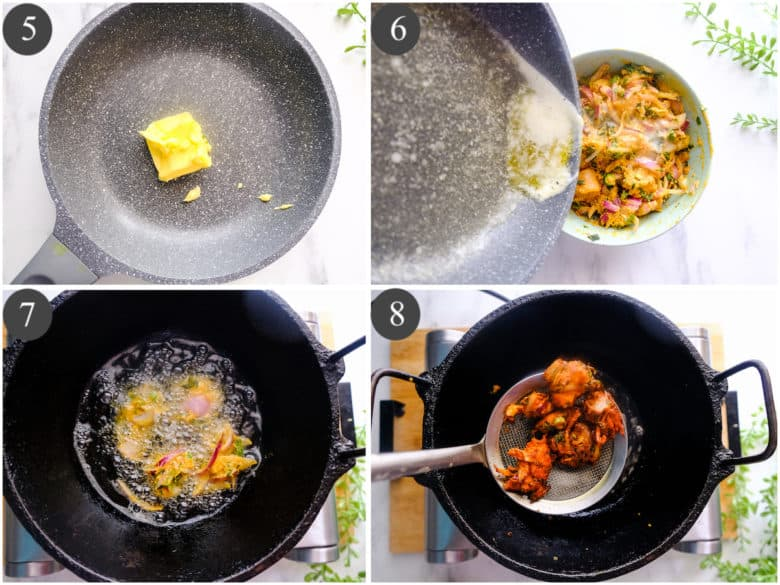 butter is being melted in a pan and chicken pakora is being deep fried