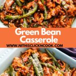 green bean casserole served in a blue casserole