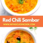 Dry chilli sambar served in bowl