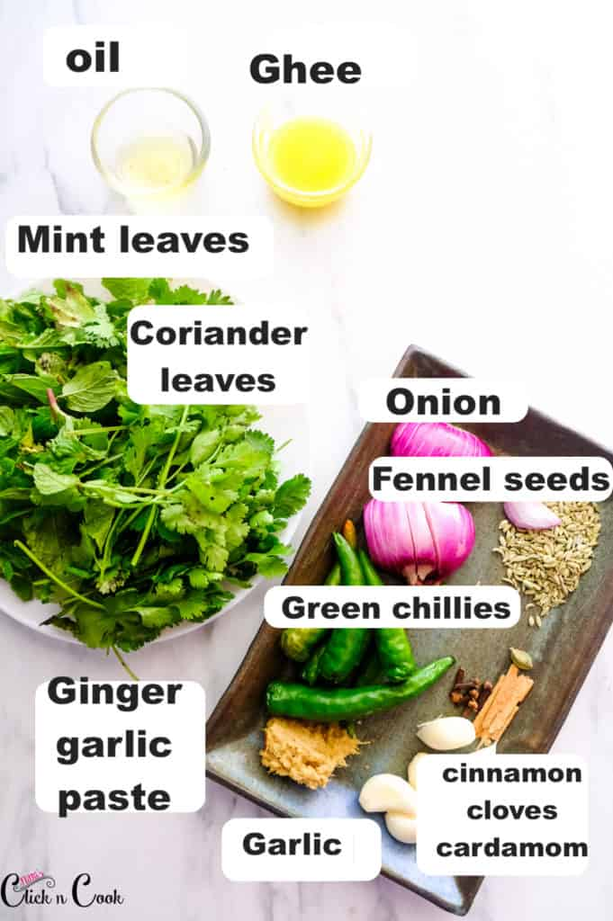 mint leaves, coriander leaves, onion and green chillies are taken in plate