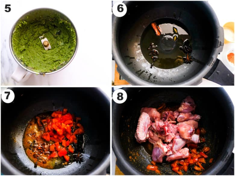 green paste in blender and chicken is being cooked in saute pan