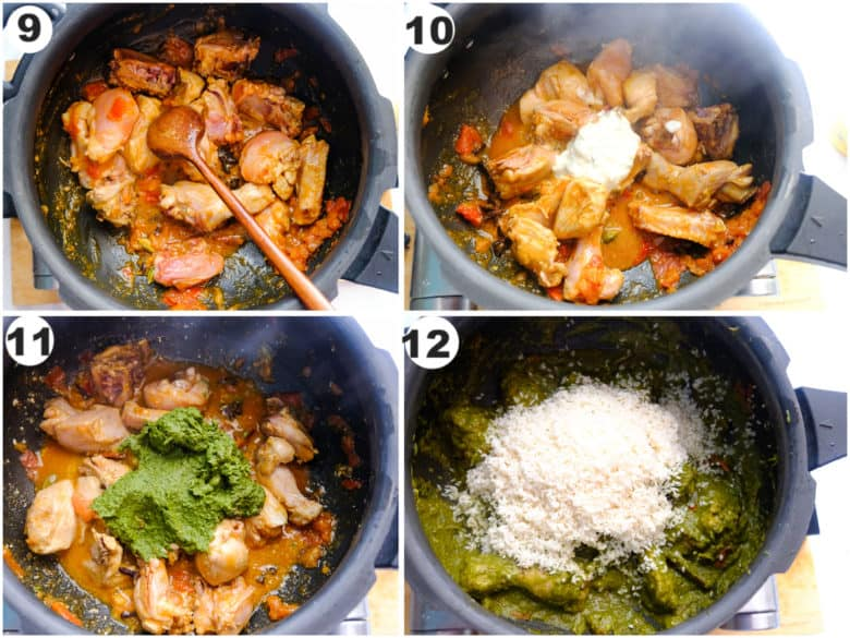 chicken is being cooked, rice and green paste masals is cooked in pressure cooked