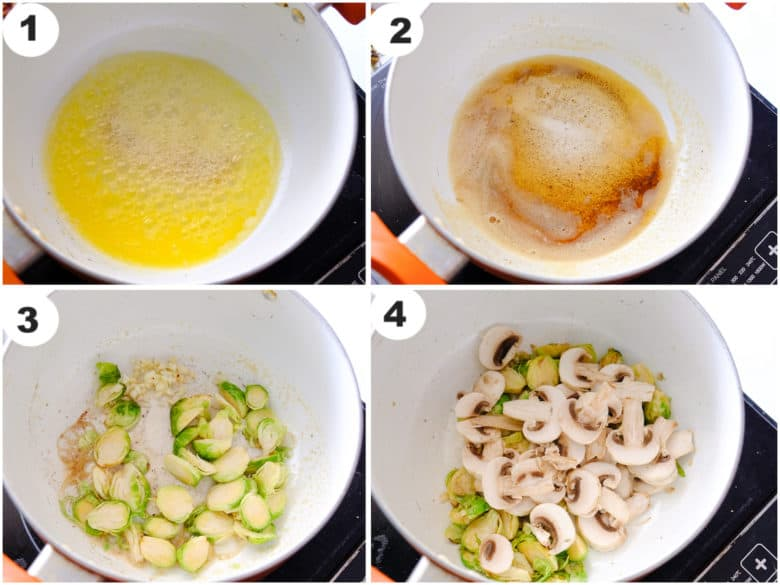 butter is browned and brussel sprouts and mushroom are being cooked in deep sauce pan