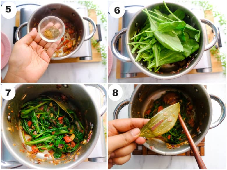 seasonings and spinach leaves are being added to sauce pan