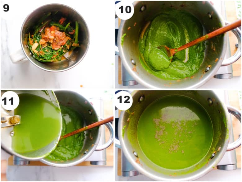 spinach puree is being cooked in sauce pan