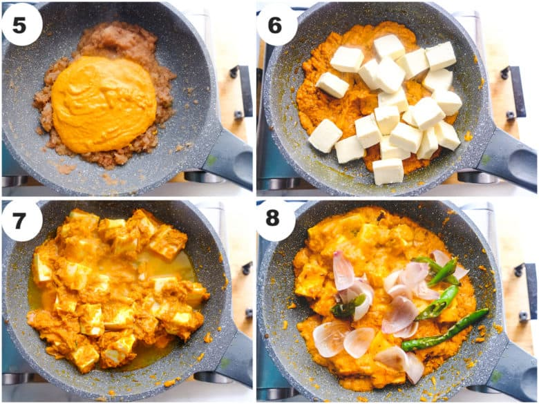 paneer do pyaza recipe is being cooked in grey pan