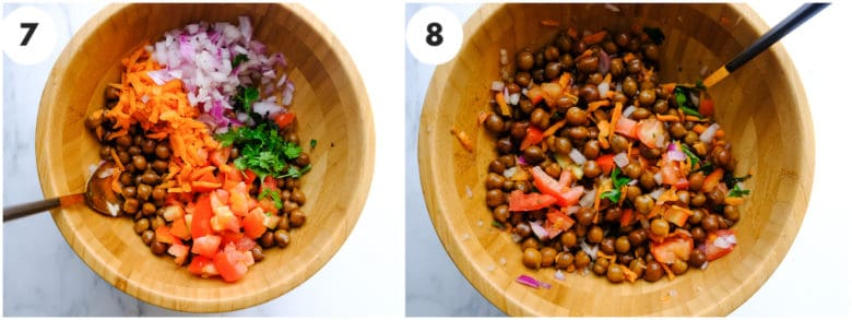 A grid image of chopped onion, chickpea and carrots. channa chat masala is being mixed wooden bowl.