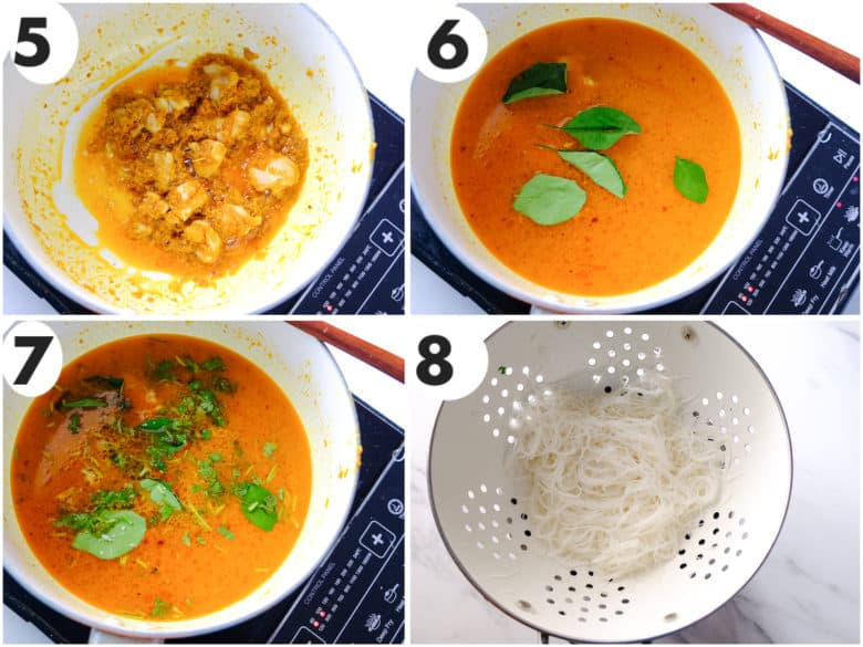 a grid image of curry laksa