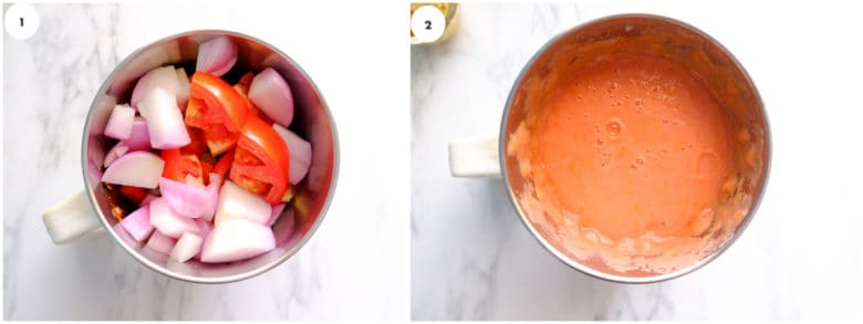 A grid image of onion and tomato is being pureed in blender