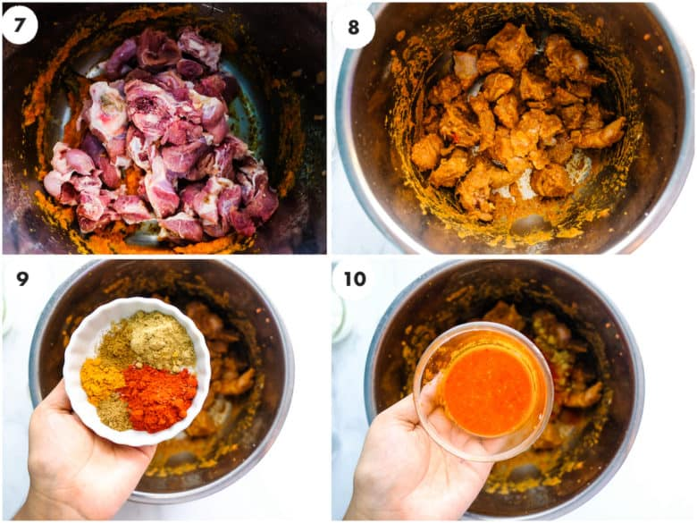A grid of image the Lamb and spices are being added to instant pot
