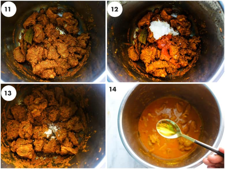 a grid of images lamb curry is being cooked.