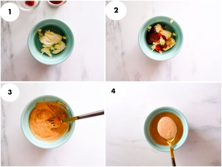 A Grid image of shrimp sauce is being made.
