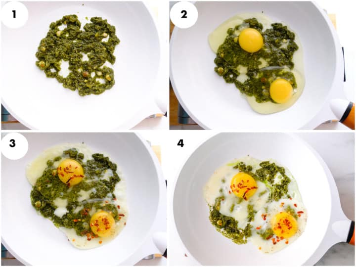 a grid image of pesto and egg is being cooked in white pan