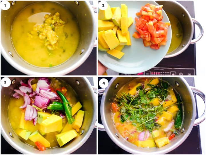 grid of image of southindian sambar is being cooked