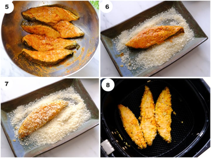 fish is being cooked and air fryied in air fryer basket.