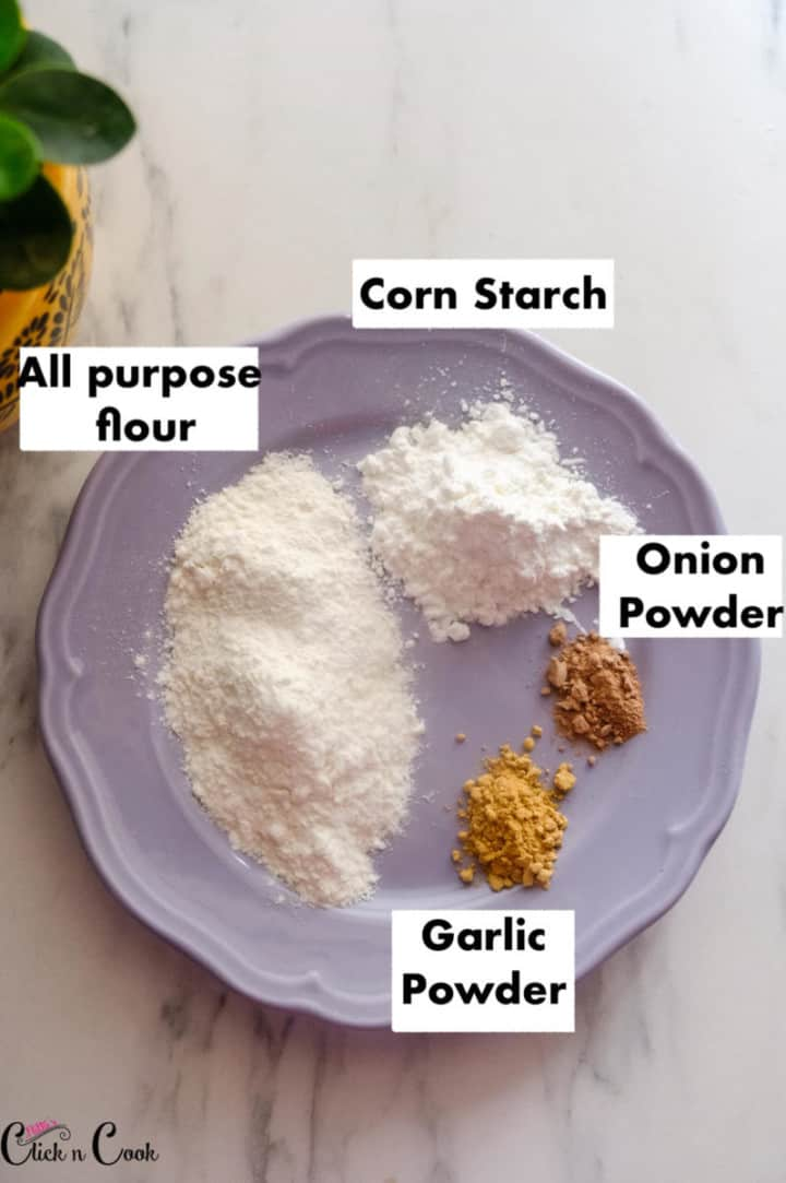 Flours are kept on the grey plate
