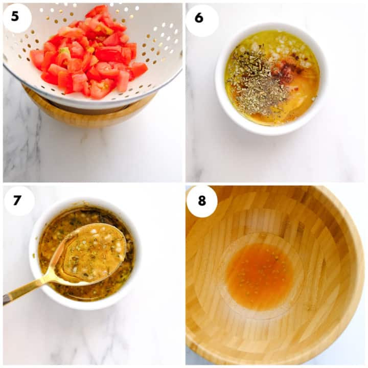 Grid image of tomoto sauce is being added to the panzanella dressing