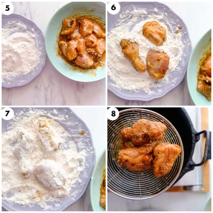 Chicken is being coated in flours and deep fried