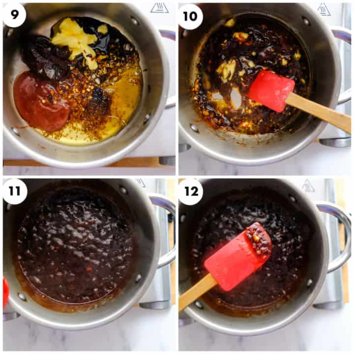 sauce is being stir fryed using red spatula
