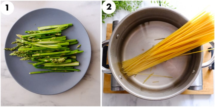 trimmed asparagus and pasta is being cooked in pot