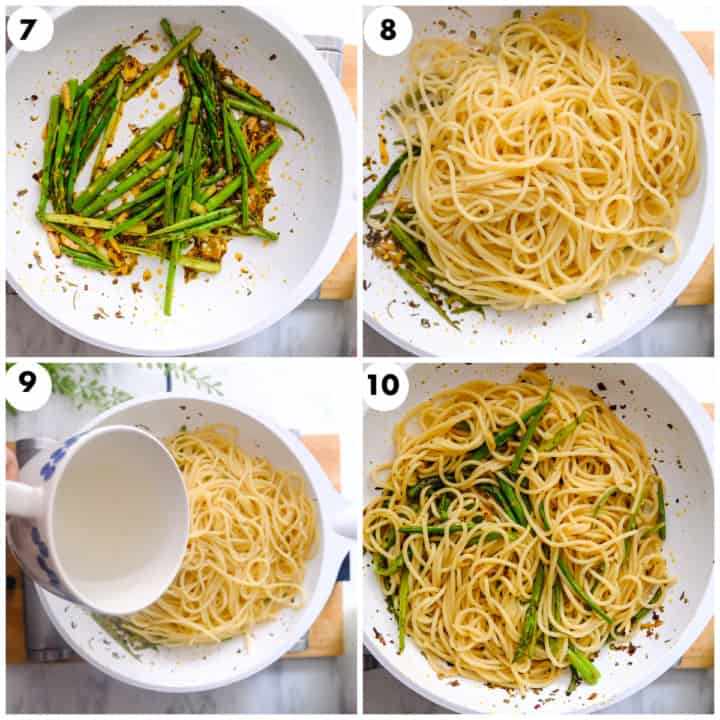 Cooked pasta is being added to white pan with asparagus