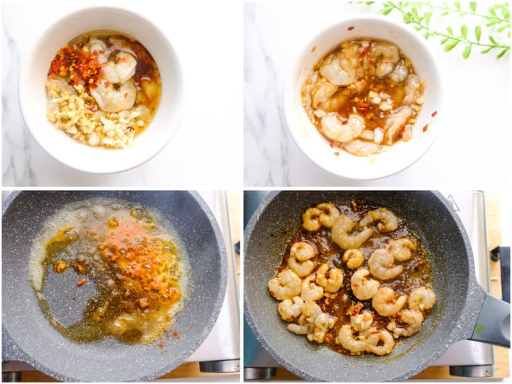 Shrimp is being marinated in a white bowl and cooked in skillet