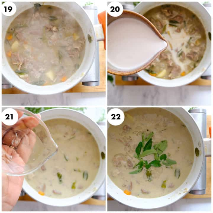 Coconut milk is being added  to stew and curry leaves is sprinkled on top.