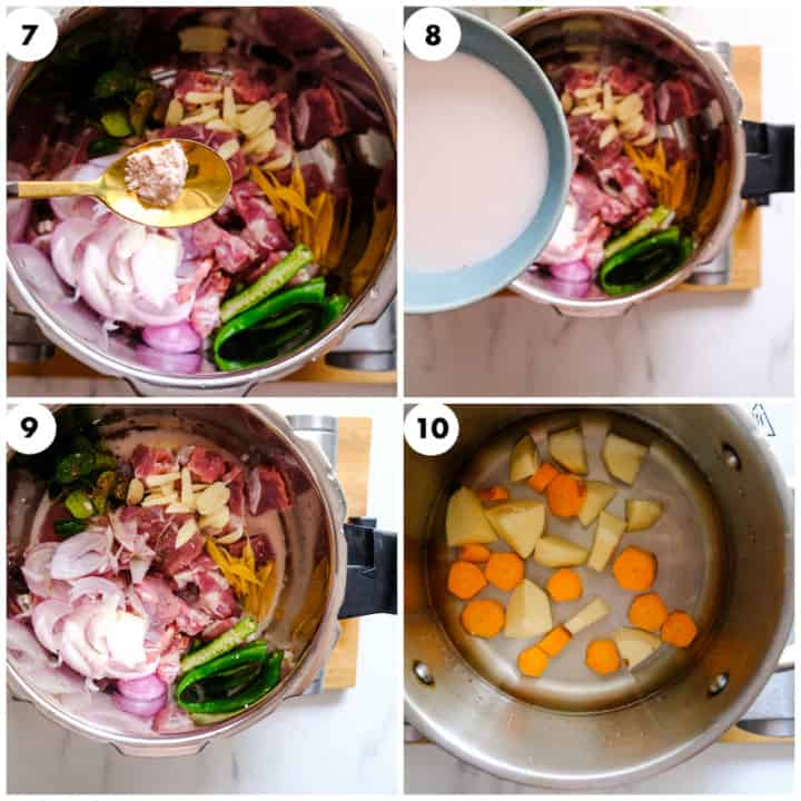 a grid of four image mutton is seasoned with salt & potato and carrot is being boiled.