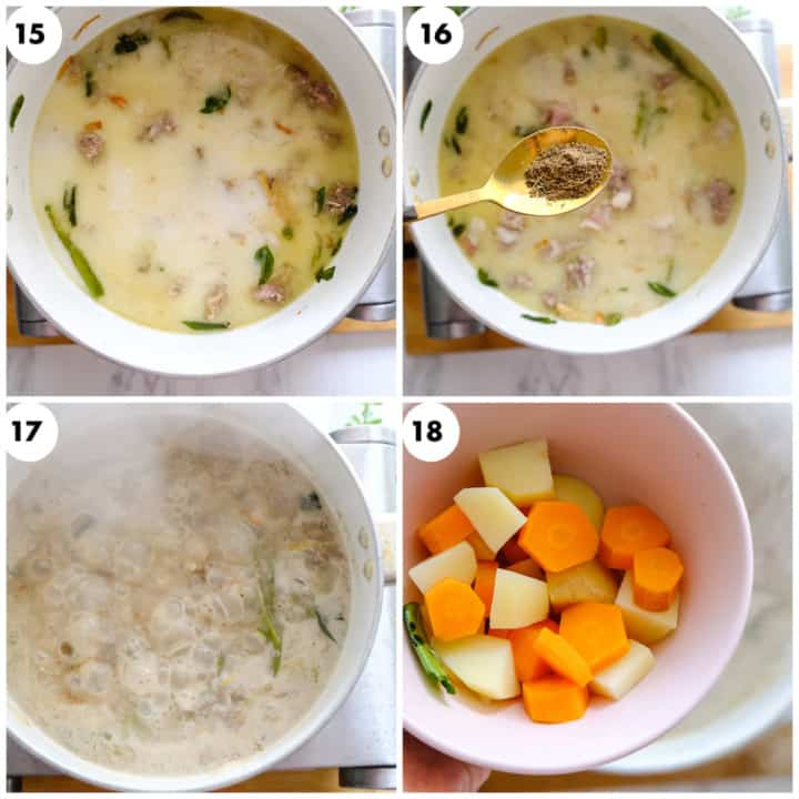boiled potato and carrot is being added to stew recipe
